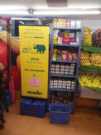 Plastic-Free Shopping bag giveaway at Pazhamudhir Nilayam, Chennai.