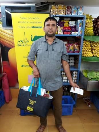 Plastic-Free Shopping bag giveaway at Pazhamudhir Nilayam, Chennai
